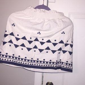 JCrew Navy & White Skirt